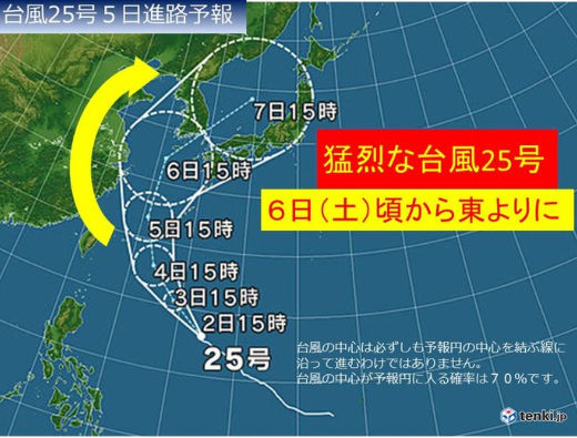 台風25号予想進路15時