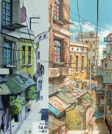 勝海麻衣の盗作疑惑の建物の絵の比較1