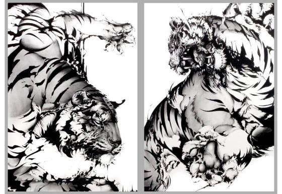 勝海麻衣の盗作疑惑の比較の猫将軍の虎の絵